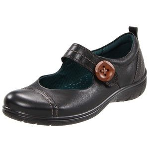 ECCO Mary Jane Comfort Black Leather Glebe Button